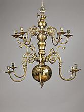 An engraved Nuremberg brass chandelier