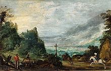 Josse de Momper, Mountain Landscape with Horseman and Woodcutter