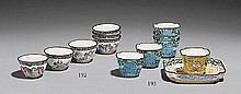 A group of six Canton enamel on copper wine cups and one small tray. 18th century