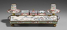 A Canton enamel on copper writing set. Mid 18th century