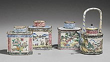 A Canton painted enamel on copper teapot and tea caddy. 18th century