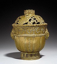A brass cup-shaped incense burner. 17th/18th century