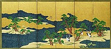 A six-panel screen depicting cranes. Early 20th century