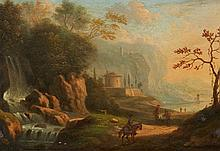 German School 18th century, Italian Landscape with a Waterfall and Travellers
