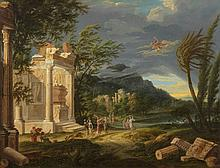 Italian School 18th century, Landscape with Hermes and Ancient Ruins