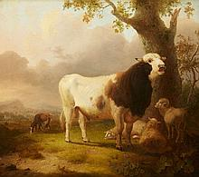 Pieter Gerardus van Os, Landscape with a Bull, Sheep and a Goat
