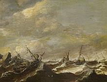 Netherlandish School 2nd half 17th century, Ships on Rough Seas