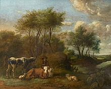 Flemish School 17th century, Landscape with Cowherd and Cattle