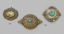 Two Tibetan women´s circular silver head ornaments (metog)