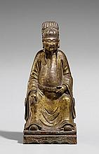 A gilded bronze figure of Wenchang, the god of literature. 17th century
