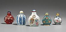 Five snuff bottles. 19th/20th century