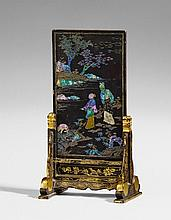 A black lacquer and mother-of-pearl-inliaid table screen. 18th century