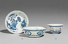 A blue and white openwork bowl with five landscape medallions. First half 17th century