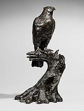 A bronze figure of an eagle on a tree stump. Late 19th century