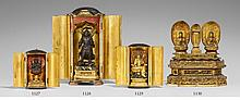 A black lacquer zushi with a lacquer gilded wood figure of Kannon inside. 19th century