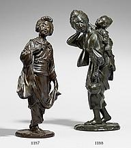 A bronze figure of a young woman with a child. Late 19th century