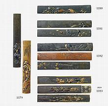 Three shakudô and shibuichi kozuka and one blade. 19th century