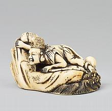 A good ivory netsuke of Ebisu and an octopus. Early 19th century