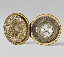 A fine silvered copper portable compass and sundial. Second half 19th century