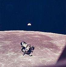 NASA, Lunar module viewed from command and service modules, Apollo 11, 1969