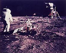 NASA, Aldrin walks toward LR-3 and lunar module, Apollo 11, 1969