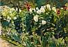Max Liebermann, Rote und weiße Blumen nach Südosten (Blumenstauden im Nutzgarten nach Südosten), 1925