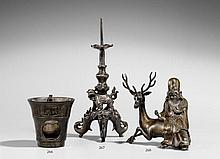 A bronze candle stick. 17th century