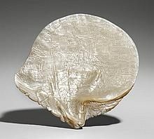 A large probably Hong Kong carved Pinctada shell. Mid-19th century