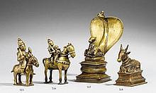 A Maharashtra/Karnataka brass figure of Khandoba und Mhalsa on horseback. 18th/19th century