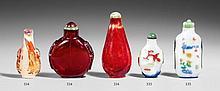 Three glass snuff bottles. 18th/19th century