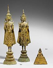 A Ratanakosin laccquered and gilded bronze figure of a jewelled Buddha with his Hundred Disciples. 19th century