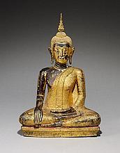 A Ratanakosin lacquered and gilded bronze figure of Buddha Maravijaya. 19th century