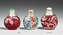 Two glass overlay snuff bottles. 19th century