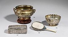 A silver and wood box. Late 19th century