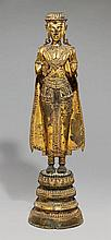 A Ratanakosin lacquered and gilded bronze figure of a jewelled Buddha. 19th century