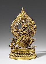 A Nepalese gilt copper figure of Chakrasamvara yab yum. 19th century