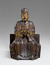 A large gilded and lacquered cement figure of an emperor. Qing dynasty, 18th/19th century
