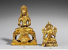 A Sinotibetan gilt bronze figure of Syamatara. Sinotibetan. 18th/19th century