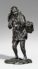 A tall Seiya bronze figure of a peasant. Late 19th century