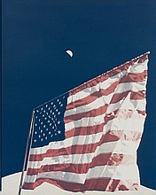 NASA, US flag on moon, Apollo 17,  1972