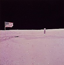 NASA, Flag and lunar module, Apollo 16,  1972