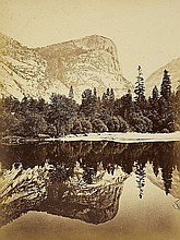 CARLETON E. WATKINS, Mount Watkins, fully reflected in Mirror Lake, Yosemite,  1865/66