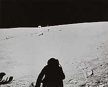 NASA, Astronaut Mitchell, Apollo 14 pilot, walks toward the lunar module,  0 1971