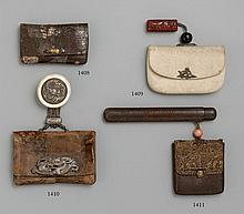 A leather tabako-ire. 19th century
