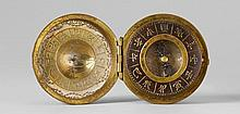 A fine silvered copper portable compass and sundial. Mid-19th century