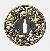 A round iron Nanban tsuba. Edo period