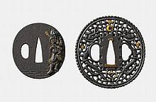 Two oval iron tsuba. Edo period
