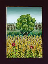 Jossip Generalic, Baumlandschaft mit Weizenfeld, 1988