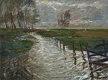 Theo Von Brockhusen, Luchlandschaft (Wustrov - Langen). Verso: Kühe auf der Weide, Circa 1905 - 1909