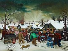 Dragan Gazi, Winterliche Dorfansicht mit brennender Scheune und Löschzug,